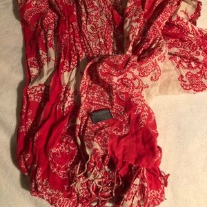 Coral and cream floral print oblong scarf
